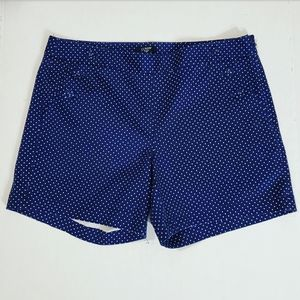 J.Crew Navy Blue w/White Polka Dots CityFit Shorts